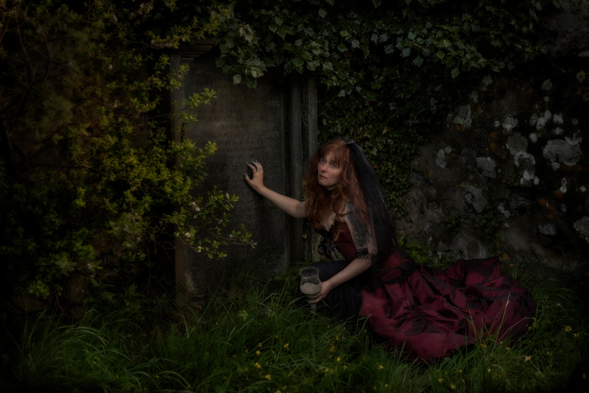 "An example of a themed costume portrait entitled ""Immortal Love"". Shot on location in Pembrokeshire as a poetic illustration."